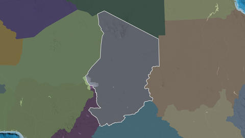 Logone Oriental extruded. Chad. Stereographic administrative map Animation