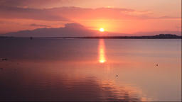 Sunrise over a calm lake, Shimane Prefecture, Japan Footage