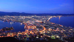 Night view of Hakodate from Mt. Hakodate in Hokkaido Footage