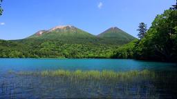 Lake Onneto Mount Meakan and Mt. Akan-Fuji, Hokkaido, Japan Footage