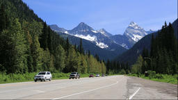 Trans-Canada Highway and the mountains of Glacier National Park, Canada Footage
