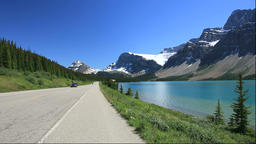 Icefields Parkway besides Bow Lake and Rocky Mountains, Canada Footage