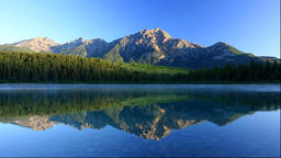 Morning scene of Patricia Lake and Pyramid Mountain, Canada Footage