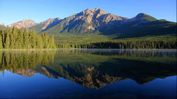 Morning scene of Pyramid Lake and Pyramid Mountain, Canada Footage