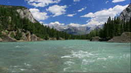 Bow River and Rocky Mountains, Canada Footage