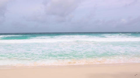 Tropical sea coastline at La Dique, Seychelles Live Action