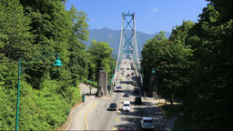 View of Lions Gate Bridge from Stanley Park, Canada Footage
