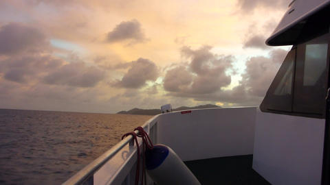 Ship on Indian Ocean at sunset, Seychelles Live Action