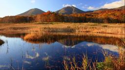 Morning view of Tashirotai wetlands and Hakkoda Mountain, Aomori Prefecture, Jap Footage