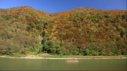 Mogami River Boat Ride in autumn, Yamagata Prefecture, Japan Footage