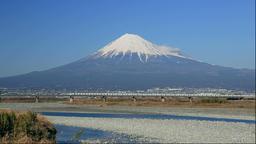Mount Fuji and the Tokaido Shinkansen in Shizuoka Prefecture Footage