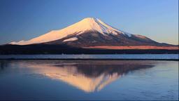 Sunrise and Mt Fuji and Lake Yamanaka in Yamanashi Prefecture Footage