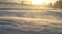 Snow drifts in the evening at Bihoro Pass in Hokkaido Footage