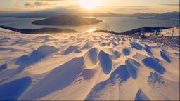 Morning view of Lake Kussharo from Bihoro Pass, Hokkaido, Japan Footage