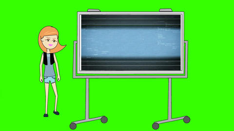 Red Haired Woman, Pointing to Data Field Presentation Board: Looping + Matte Animation