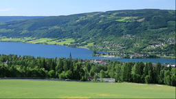View of Lake Mjosa and Lillehammer, Norway Footage