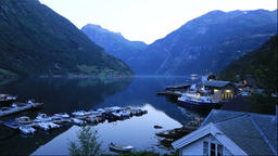 Morning at Geirangerfjord in Norway Footage