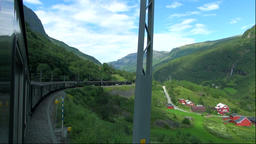 View from a train window on the Flam Railway, Norway Footage