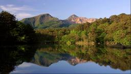 Morning view of Goshiki-numa pond and Mount Bandai, Fukushima Prefecture, Japan Footage