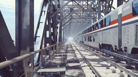 People cross a railway bridge on a cloudy summer morning when a passenger train passes by Videos animados