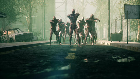 The zombies are walking through an abandoned and deserted city. The concept of the Videos animados