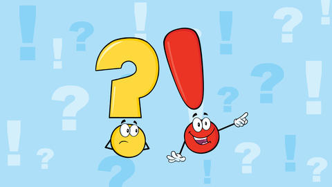 Question Mark And Exclamation Mark Cartoon Characters Animation