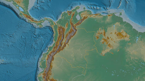 Guainía extruded. Colombia. Stereographic relief map Animation