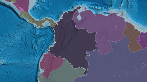 Guaviare extruded. Colombia. Stereographic administrative map Animation