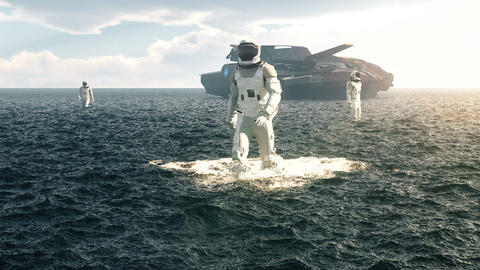 Astronauts explore an aquatic uninhabited planet. Animation for fantasy, futuristic or space travel Animation