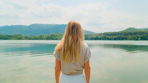 Portrait of young woman enjoy natural scenery Live Action