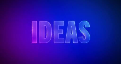 Ideas. Electric lightning words. Logotype Animation