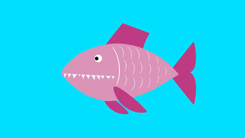 A large predatory fish ate a small one Animation