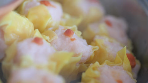 Steaming dimsum in the hot pot, selective focus shallow depth of field Live Action