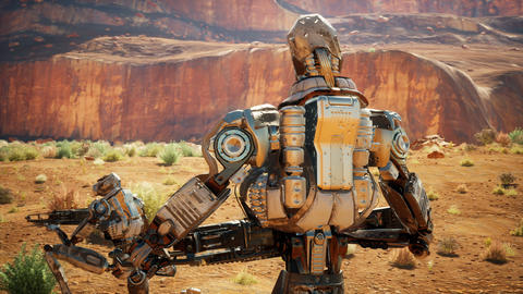 Military robot-android in the desert surveys the territory. The animation for fiction, futuristic or Videos animados