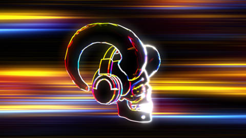 Neon Horned Skull with Headphones in Flight 2 Videos animados