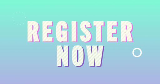 Register now Logotype. Smooth Text Animation Animation