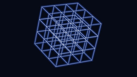 3D cube geometry element evolution as a symbol of technology, science or futuristic design. Edges Animation