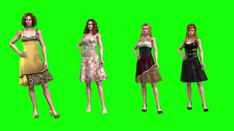 812 4K FASHION BEAUTY 3d computer generated 4 models present new seasons clothes Animation
