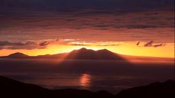 Sunrise over Kunashir Island from Shiretoko Pass, Hokkaido, Japan Footage
