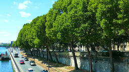 Traffic and trees at Pont de Bir-Hakeim, Paris, France Footage