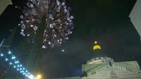 Christmas Fireworks over the basilica of annunciation, Nazareth Footage