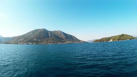 Ship Cruise Around Island Of Lefkada Footage