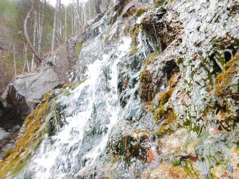 The waterfall in the rocks. Russia Footage