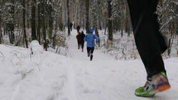 group of athletes runners run a winter forest in snow Footage