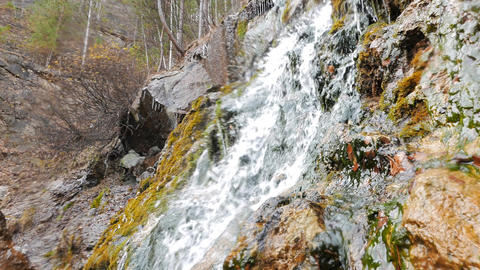 Rock and waterfall. Russia Footage