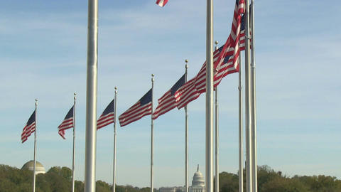 Flags of the United States at Washington Monument in Washington, DC Footage