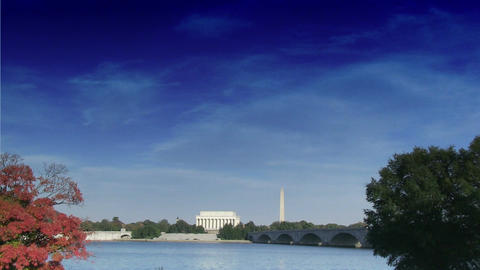 Time lapse of The Lincoln Memorial and Washington Monument Footage