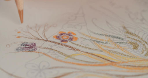 Close up shot of artist drawing with colored pencils Footage