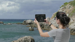 Woman Filming On Tablet While Spending Time Footage