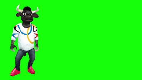 817 4k TOON ANIMALS 3D computer generated BULL walking greeting and pointing Two foorages CG動画